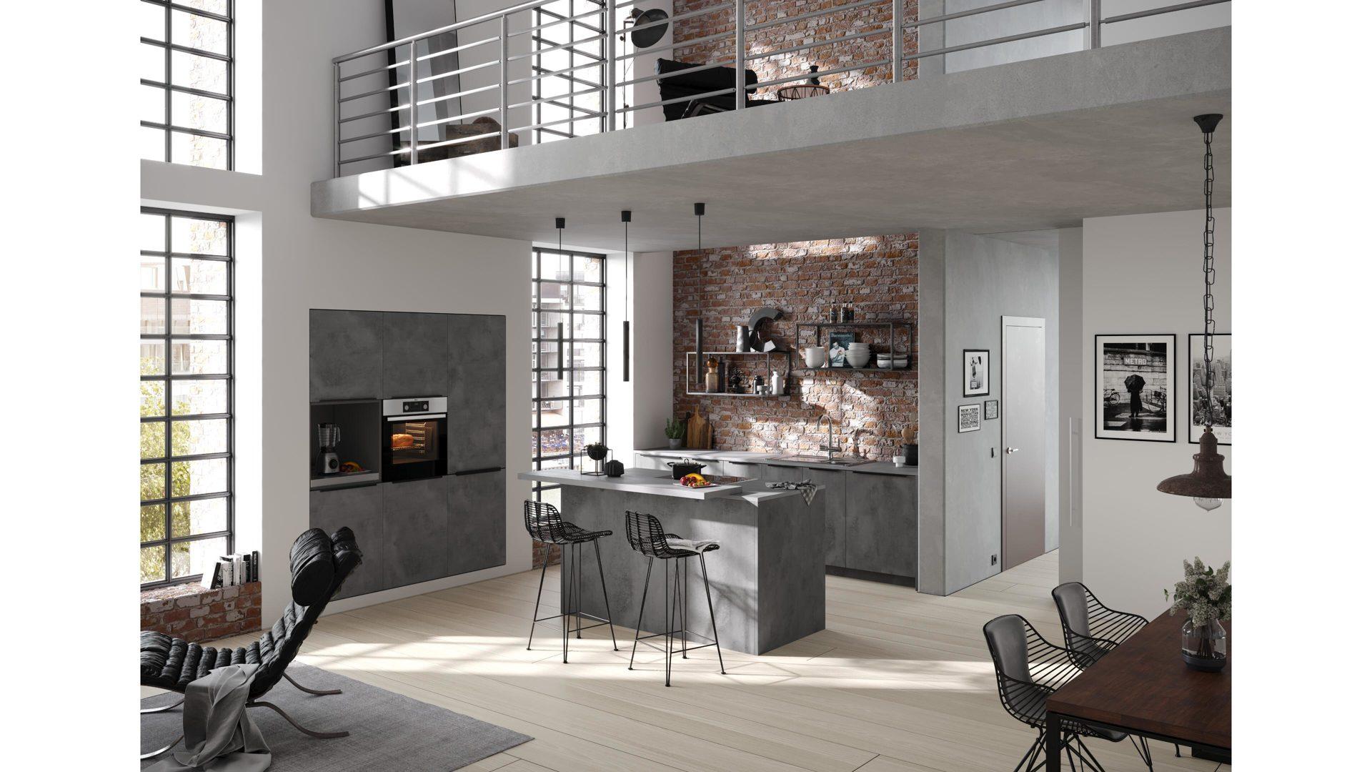 Culineo Küche Mit Aeg Einbaugeräten Beton Anthrazitfarbene
