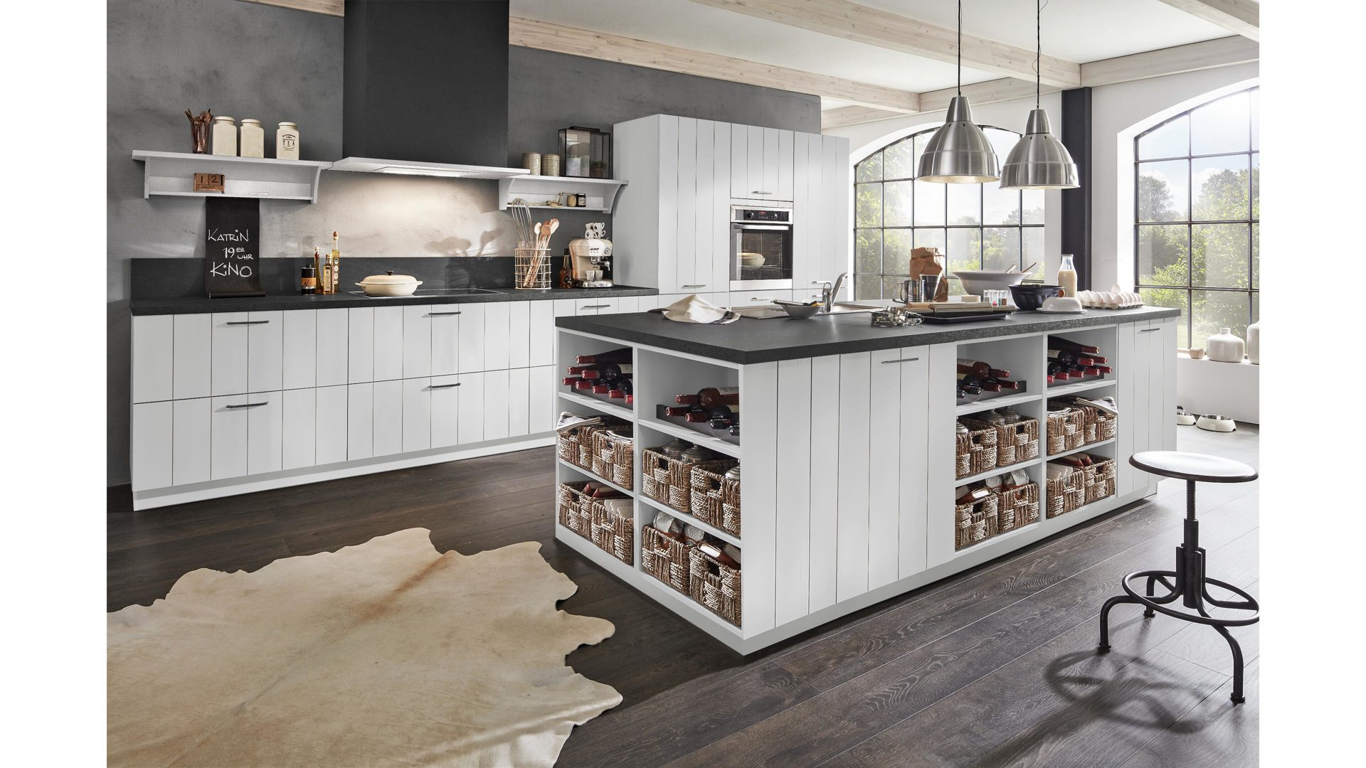 Culineo Küche mit AEG Einbaugeräten, seidengraue ...