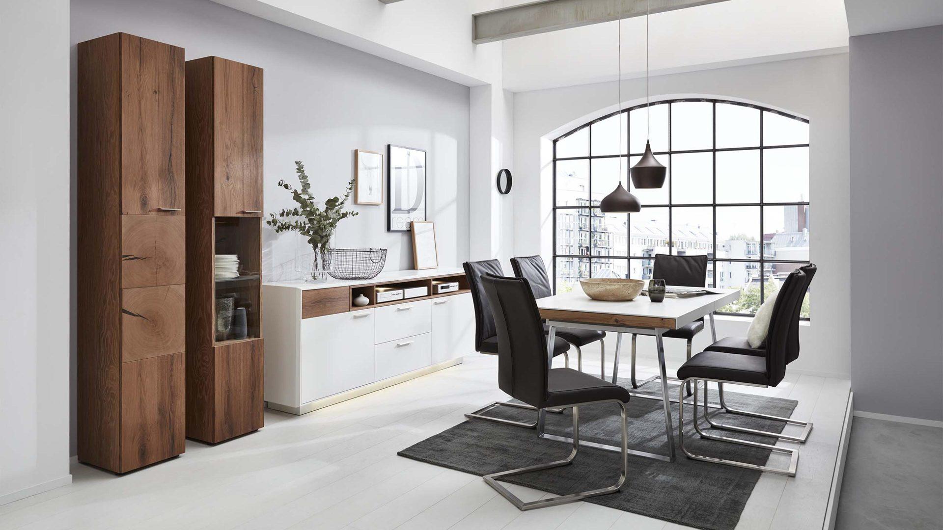 auszugtisch die hausmarke il aus holz in weiss interliving wohnzimmer serie 2102 esstisch dunkles