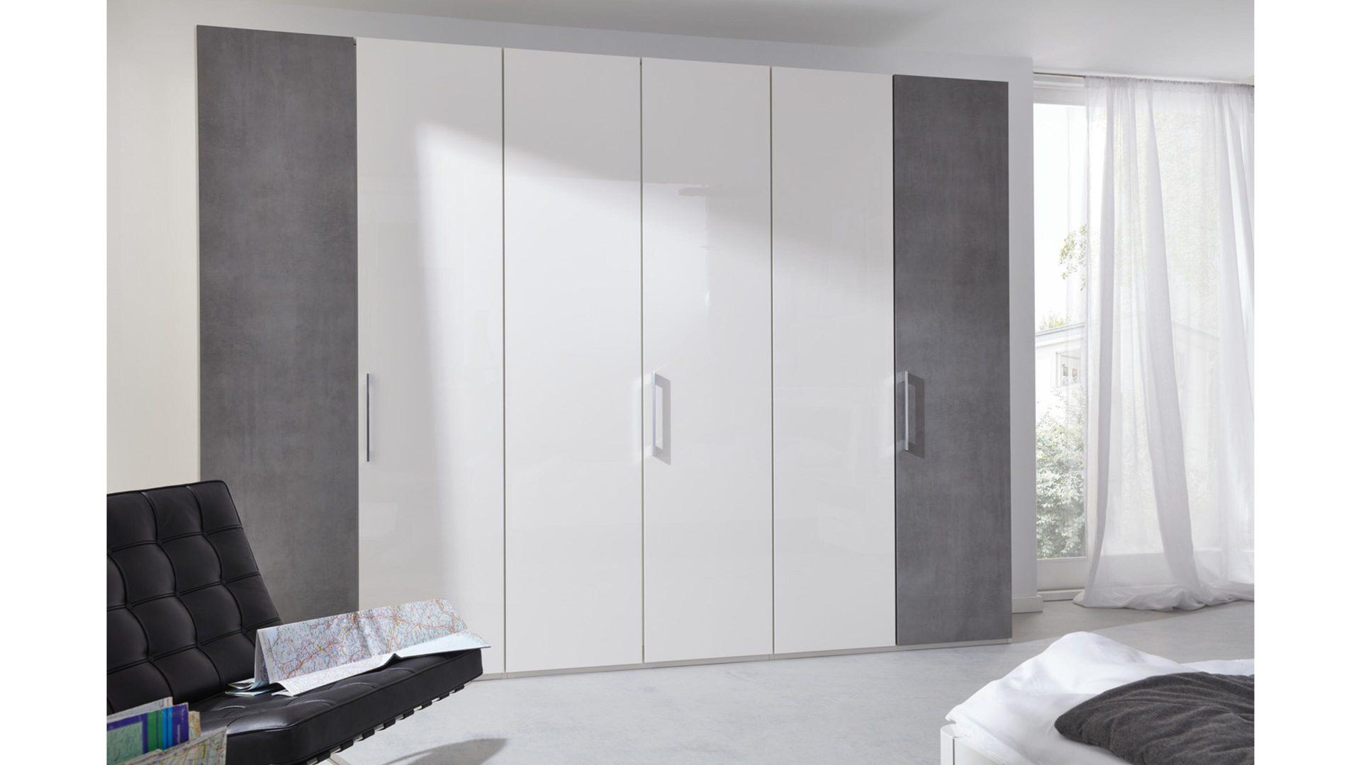 Interliving Schlafzimmer Serie 1003 – Kleiderschrank, Bianco weiße  Hochglanz & betonfarbene Kunststoffoberflächen – sechs