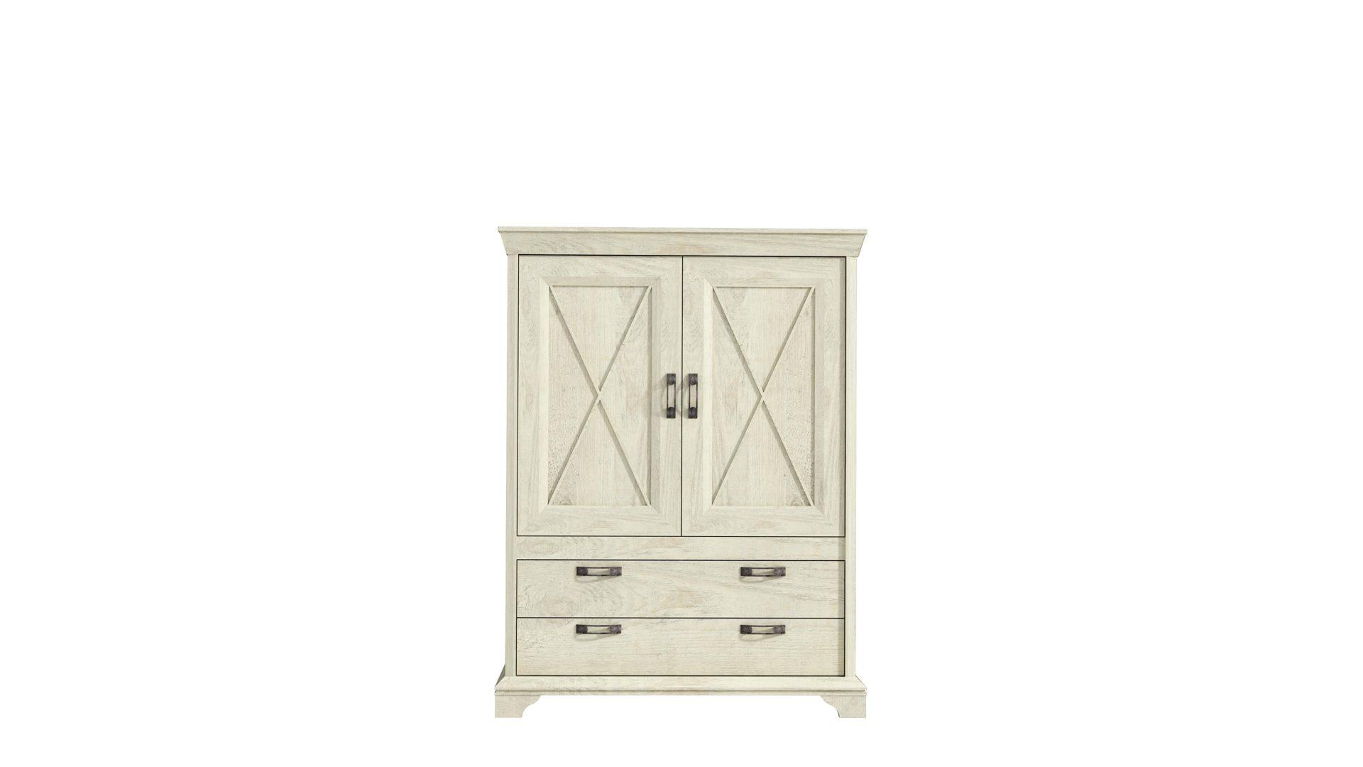 Highboard Weiße Pinienfarbene Kunststoffoberflächen Zwei Türen Zwei Schubladen