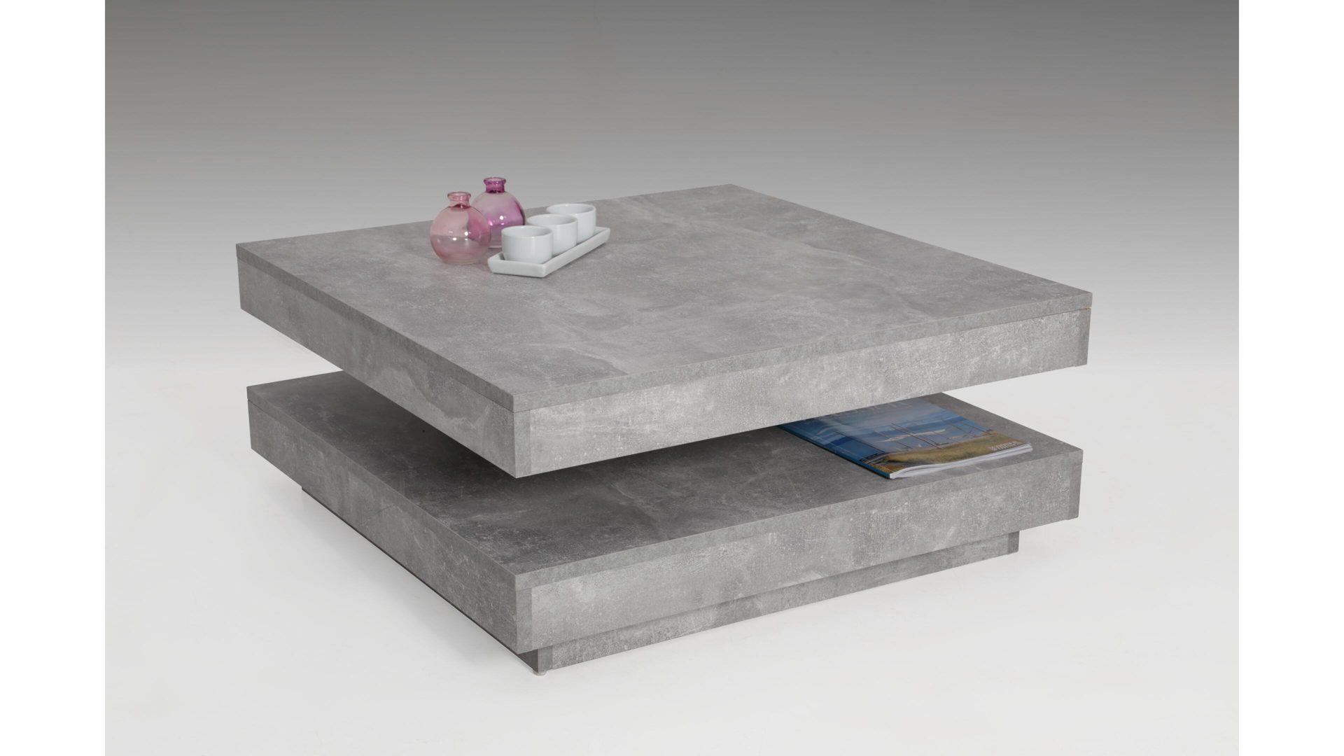 Funktions-Couchtisch, betonfarbene Kunststoffoberflächen – ca. 78 x 78 cm