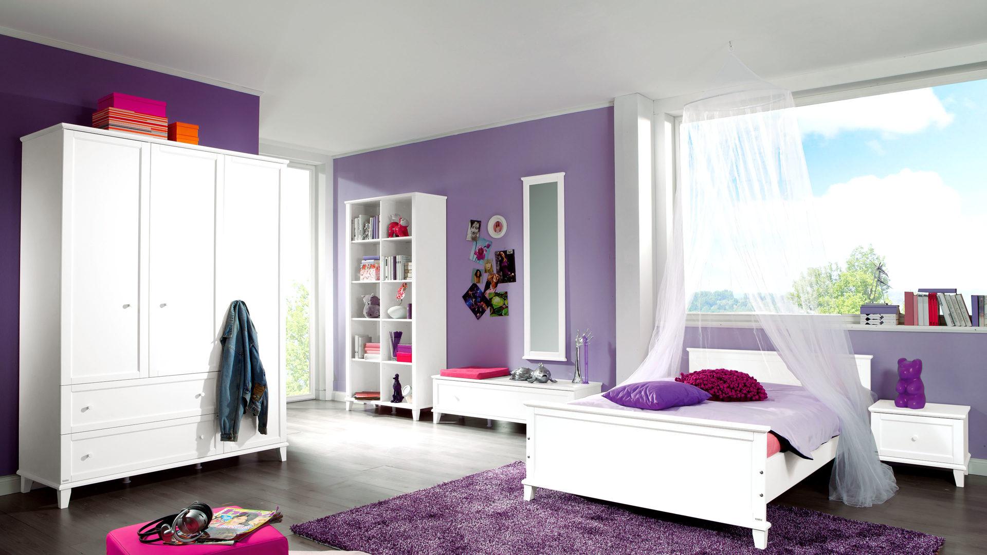 Paidi Jugendzimmer Sophia Mit Bett Und Kleiderschrank Eisweißer Lack Dreiteilig Liegefläche Ca 90 X 200 Cm
