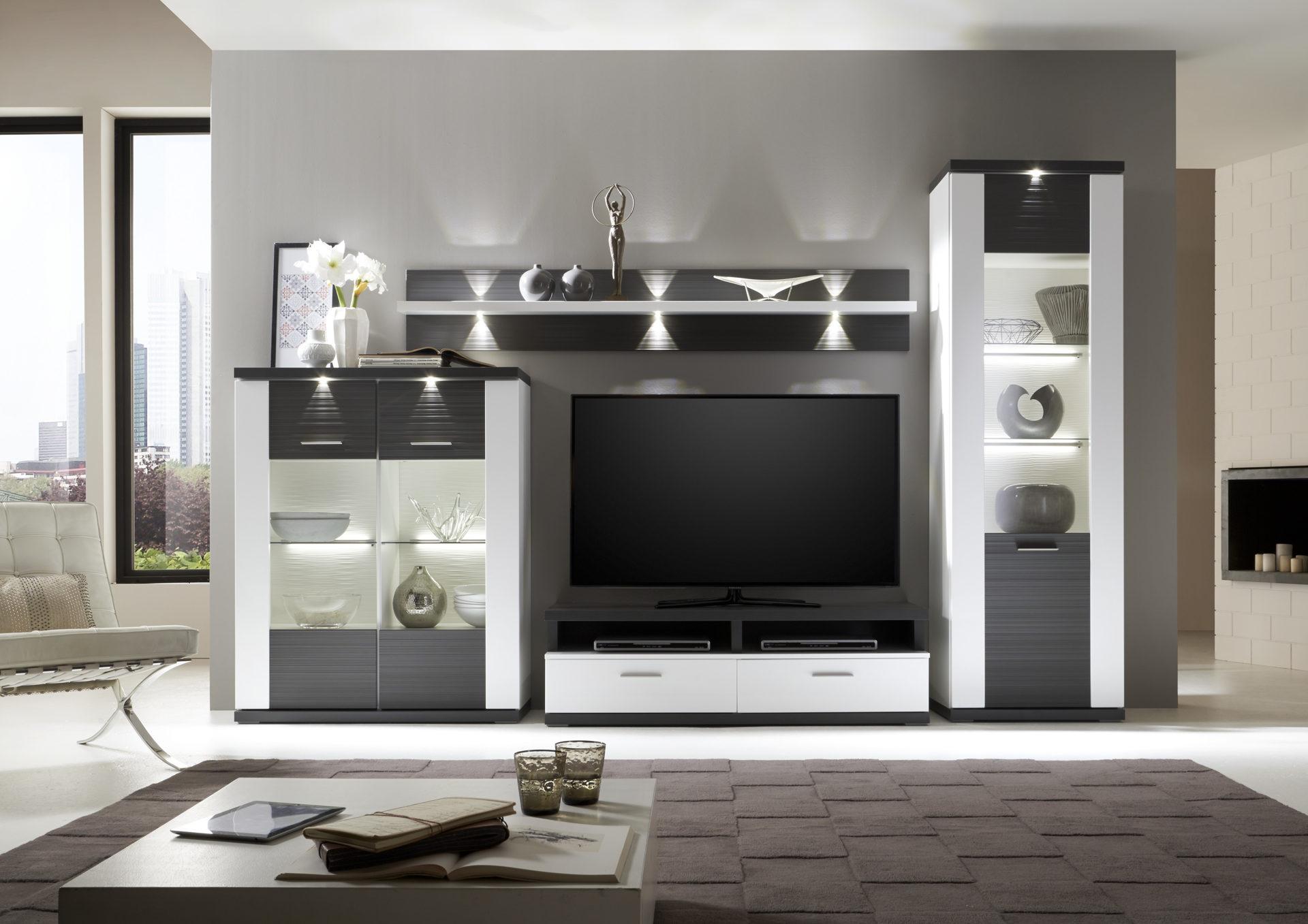 Wohnkombination Wohnwand Mit Tv Mobel Graphitfarbene