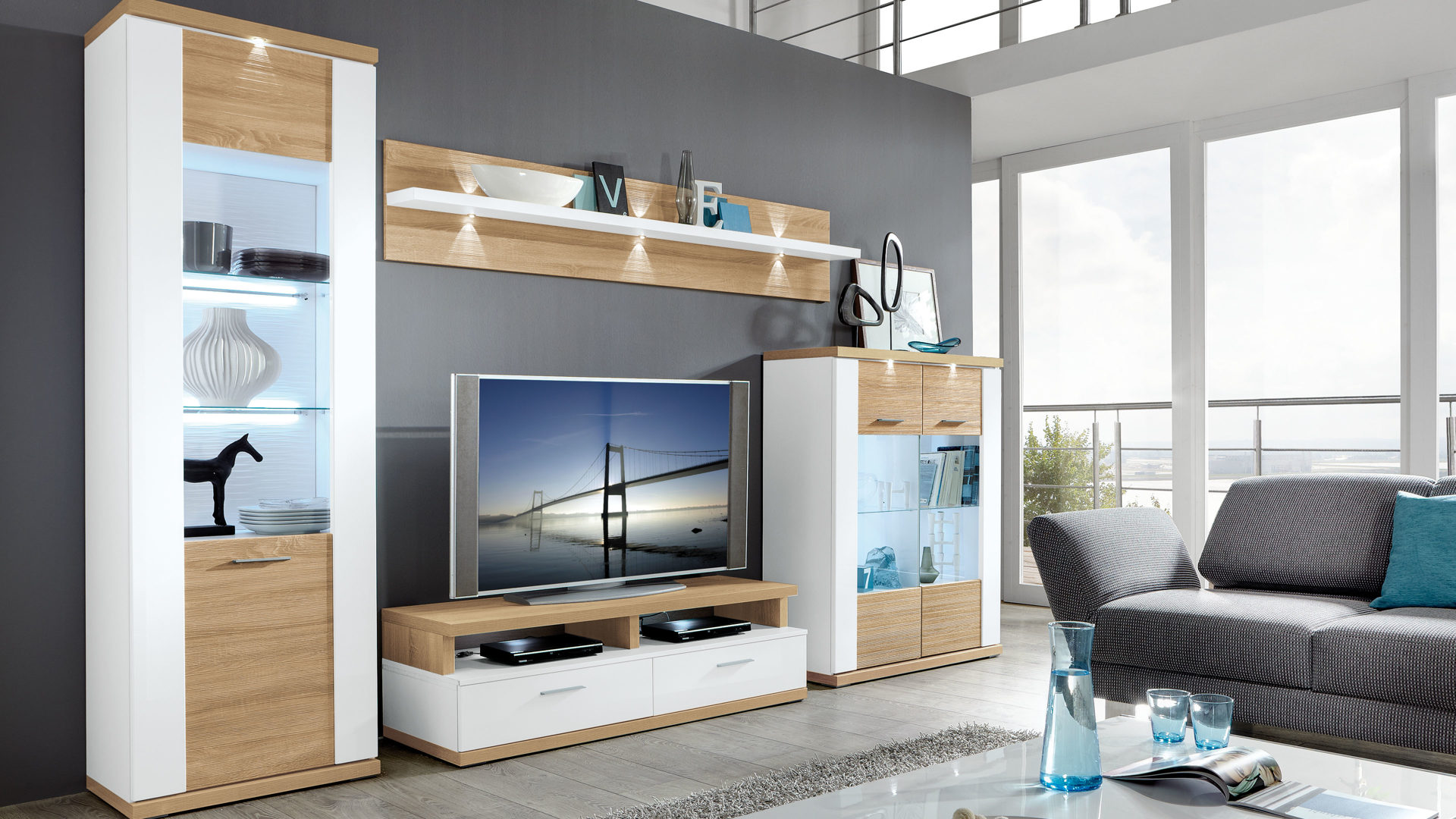 Wohnkombination Wohnwand Mit Tv Mobel Arcticweisse