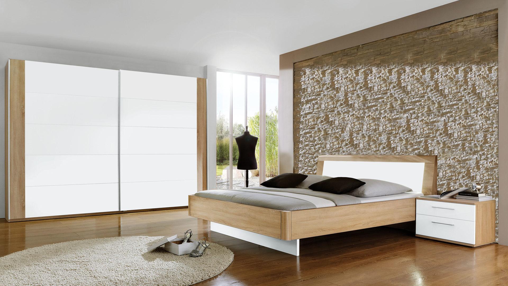 PARTNERRING COLLECTION Schlafzimmer Lavin, weiße & Macao eichefarbene  Oberflächen - vierteilig, Liegefläche ca. 180 x 200 cm
