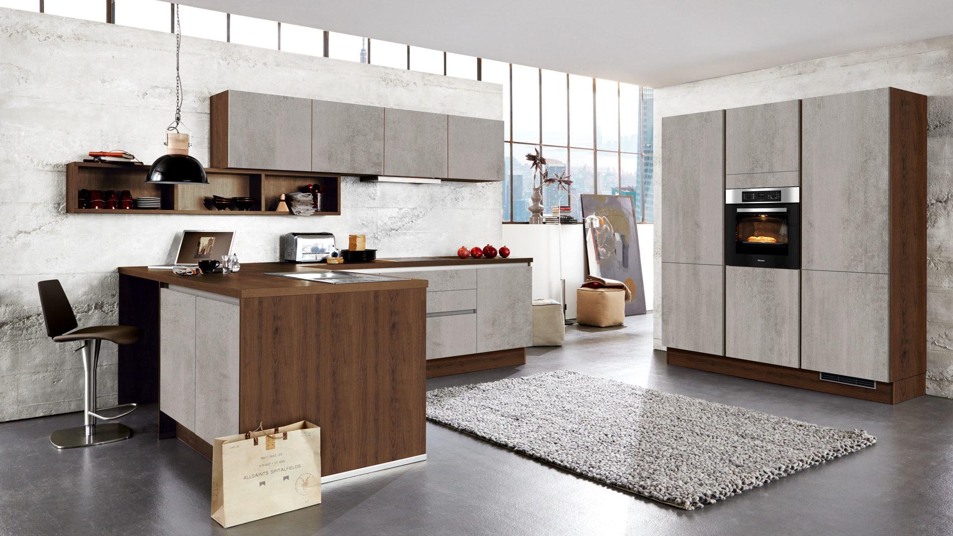 Culineo Küche mit SIEMENS Einbaugeräten, Beton perlgraue & dolomitfarbene  Kunststoffoberflächen, dolomitfarbene Arbeitsplatte