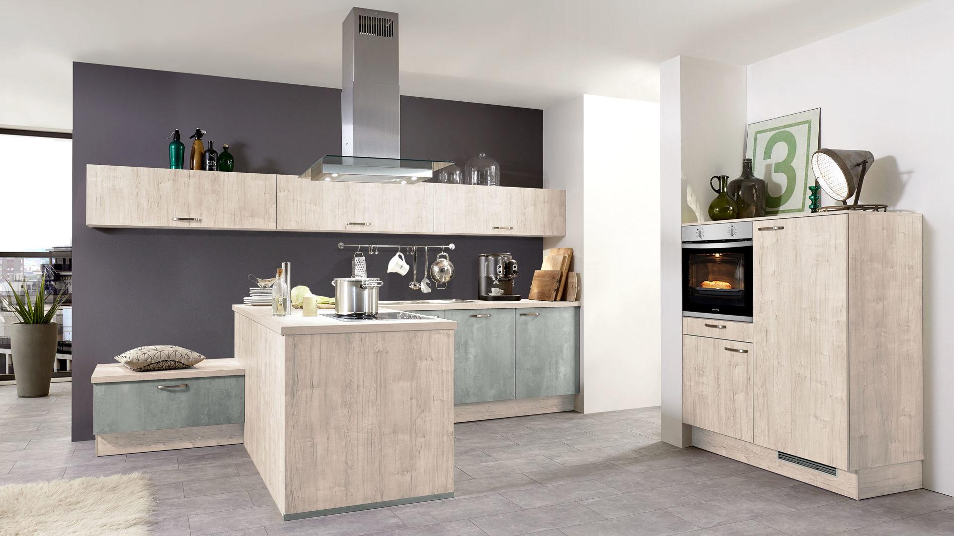 Culineo Küche mit PRIVILEG Einbaugeräten, Sonoma eichefarbene & Beton  perlgraue Kunststoffoberflächen, Sonoma eichefarbene Ar