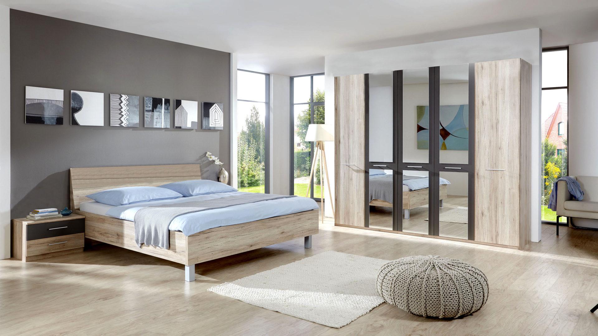 PARTNERRING COLLECTION Schlafzimmer Portland mit Kleiderschrank, Santana  eiche- & havannafarbene Kunststoffoberflächen – vier