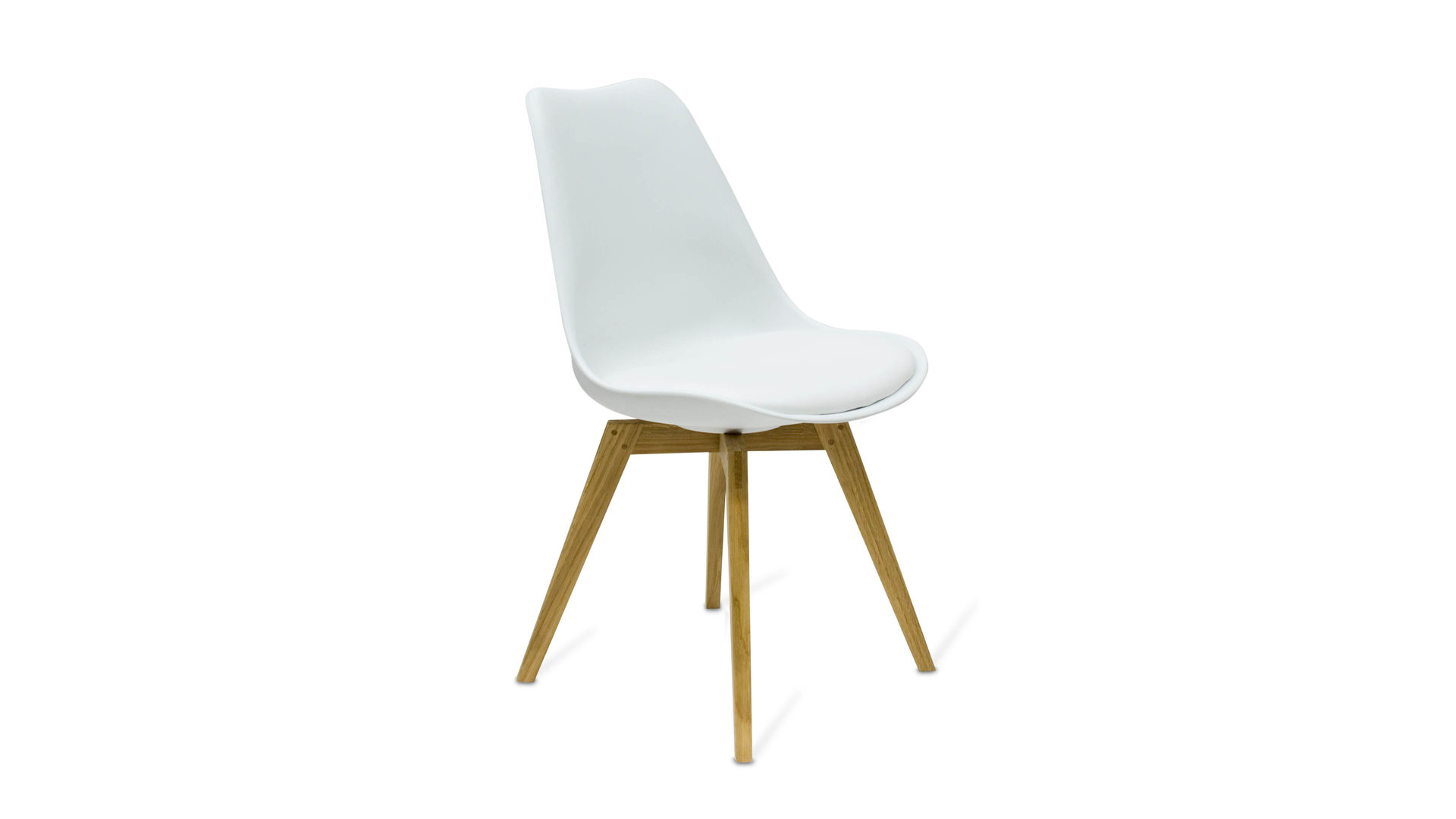 Stuhl Der Als Bequemes Sitzmobel Uberzeugt Weisse Kunststoff Sitzschale Eichenholzfusse