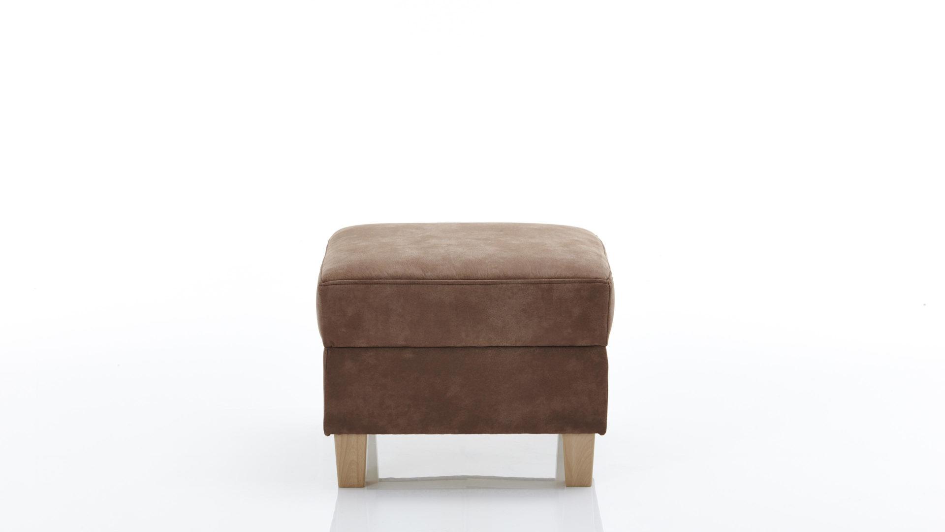 Hocker Mit Stauraum Als Sitzmöbel Mit Charme Espressofarbener Mikrofaserbezug Zeus 6180 Eichenholzfüße Ca 60 X 46 X 60