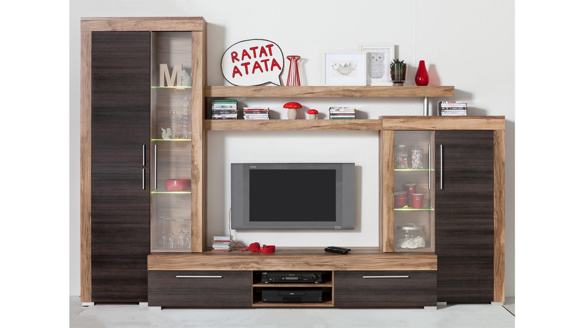 Hochwertig Wohnwand Trendteam Aus Holz In Holzfarben Wohnwand Mit Vitrinen Und Einem  TV Lowboard Satin Nußbaumfarbene U0026