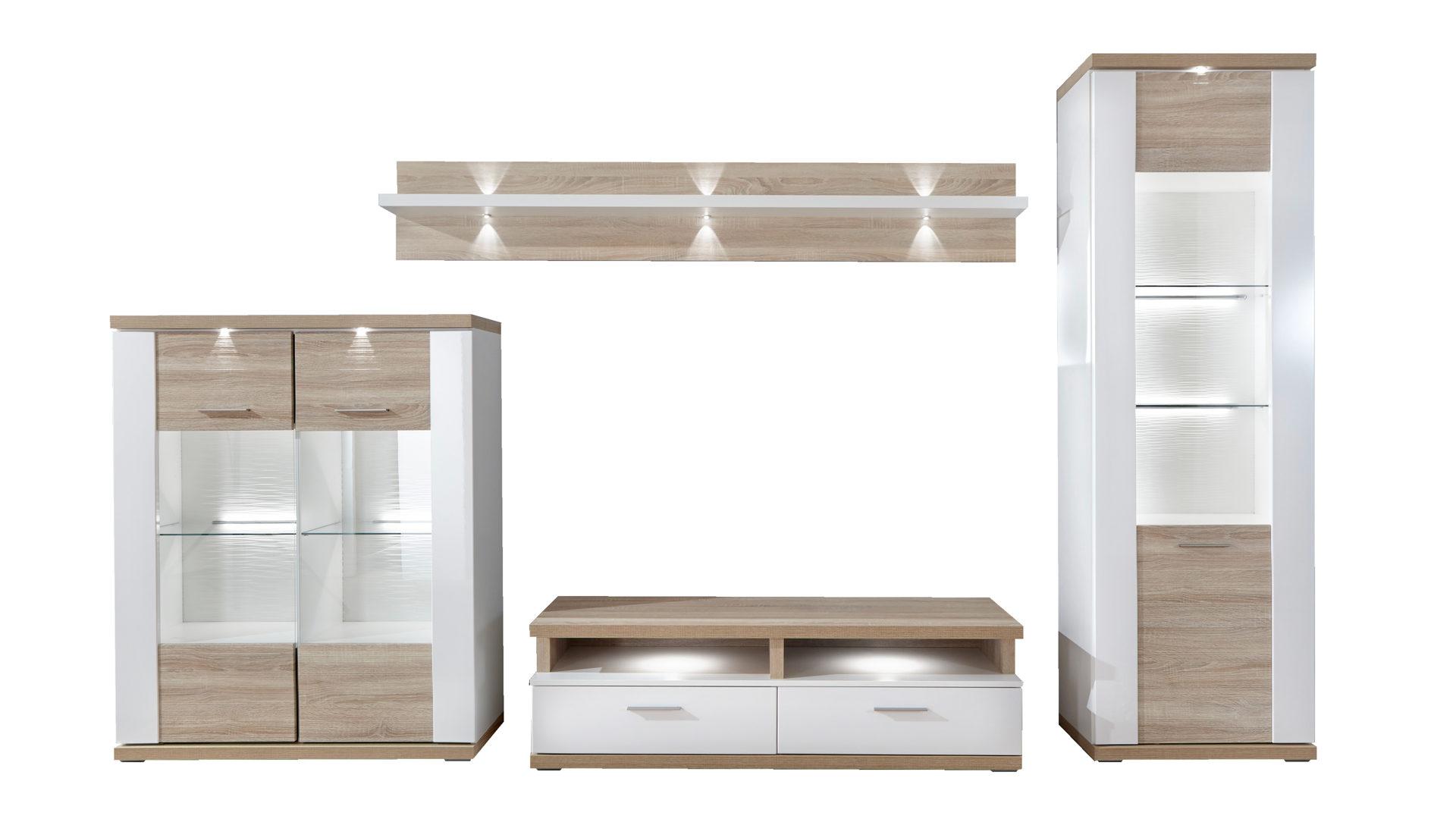 Wohnkombination Wohnwand Mit Tv Möbel Arcticweiße Eichefarbene