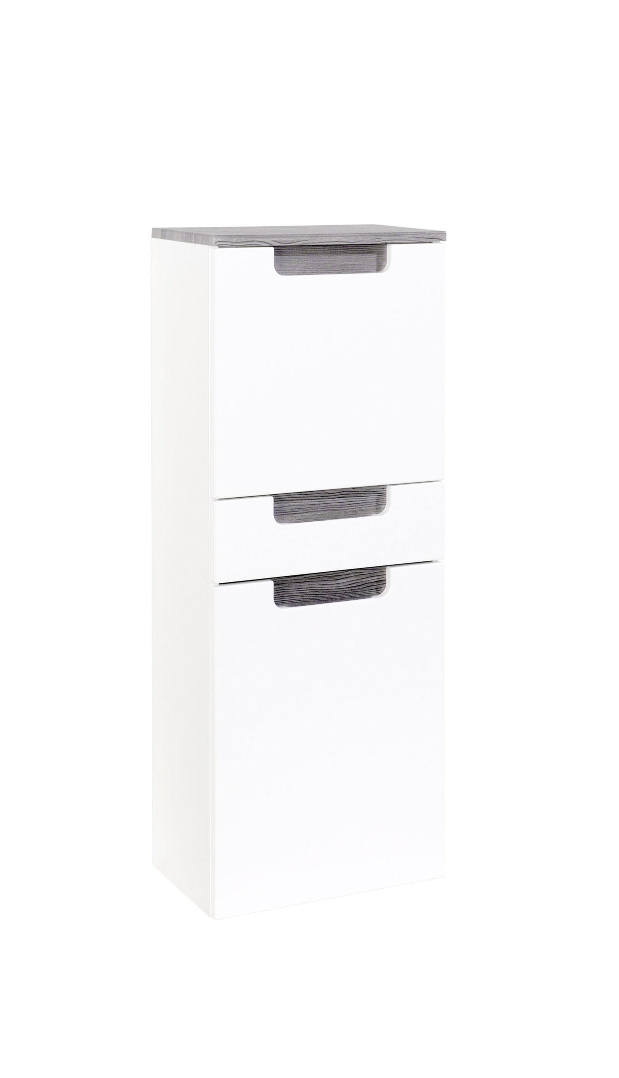 Bad-Midischrank Siena, weiße Hochglanz- & Rauchsilber eichefarbene  Kunststoffoberflächen – zwei Türen, eine Schublade, Brei
