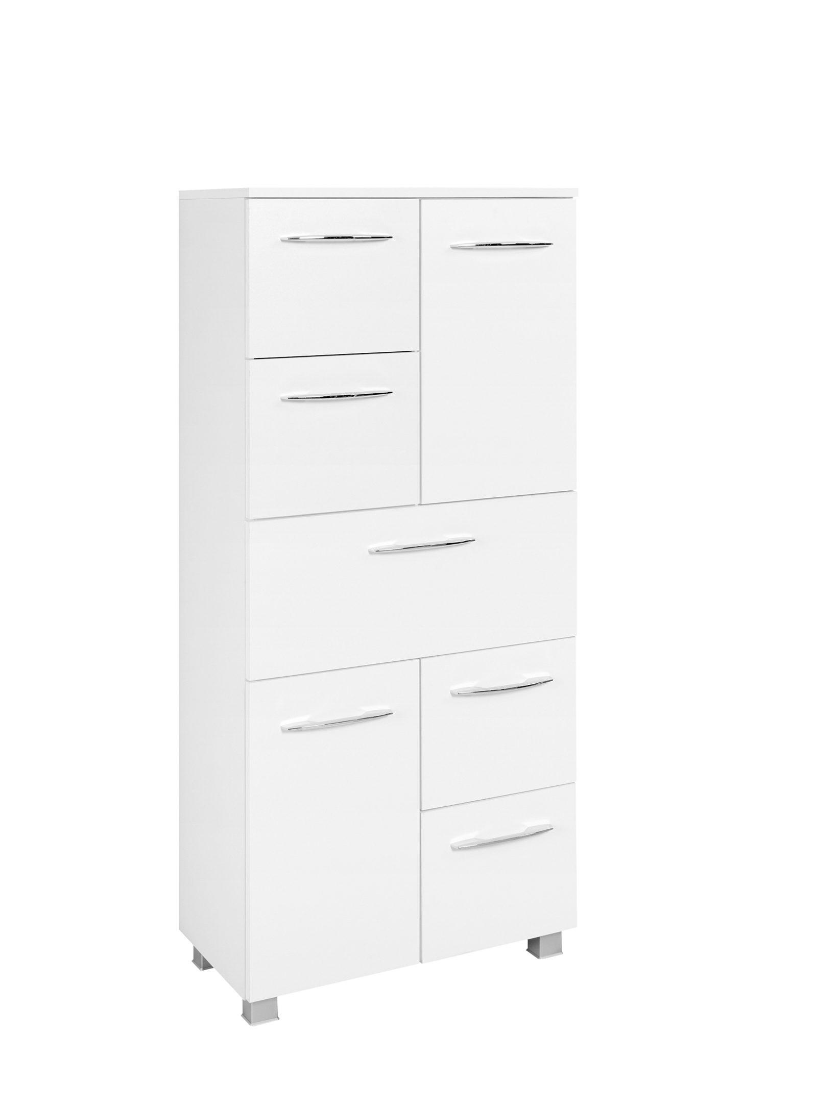 Bad-Midischrank Portofino, weiße Kunststoffoberflächen – zwei Türen, fünf  Auszüge, Breite ca. 18 cm