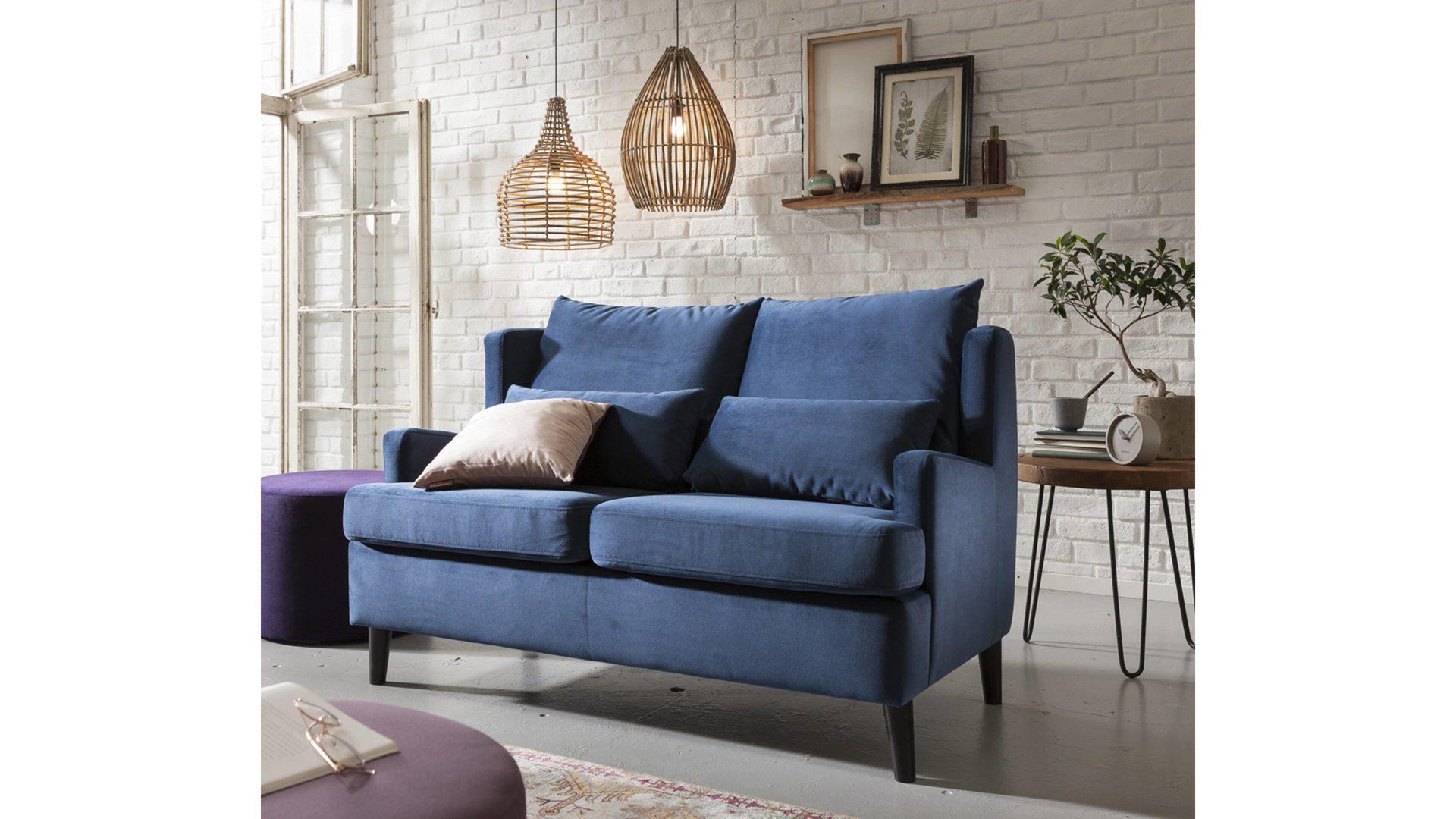 Kawoo Zweisitzer Sofa Carlton Polstermöbel Marineblauer Samtbezug