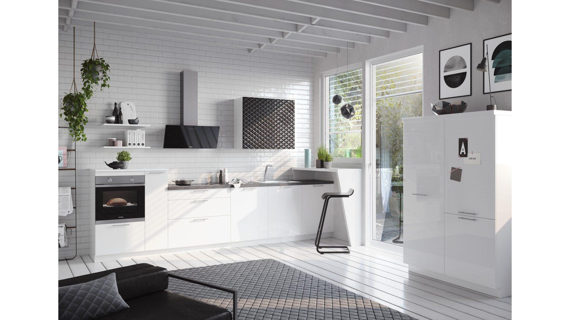 Culineo Küche mit PRIVILEG Einbaugeräten, weiße Hochglanz ...