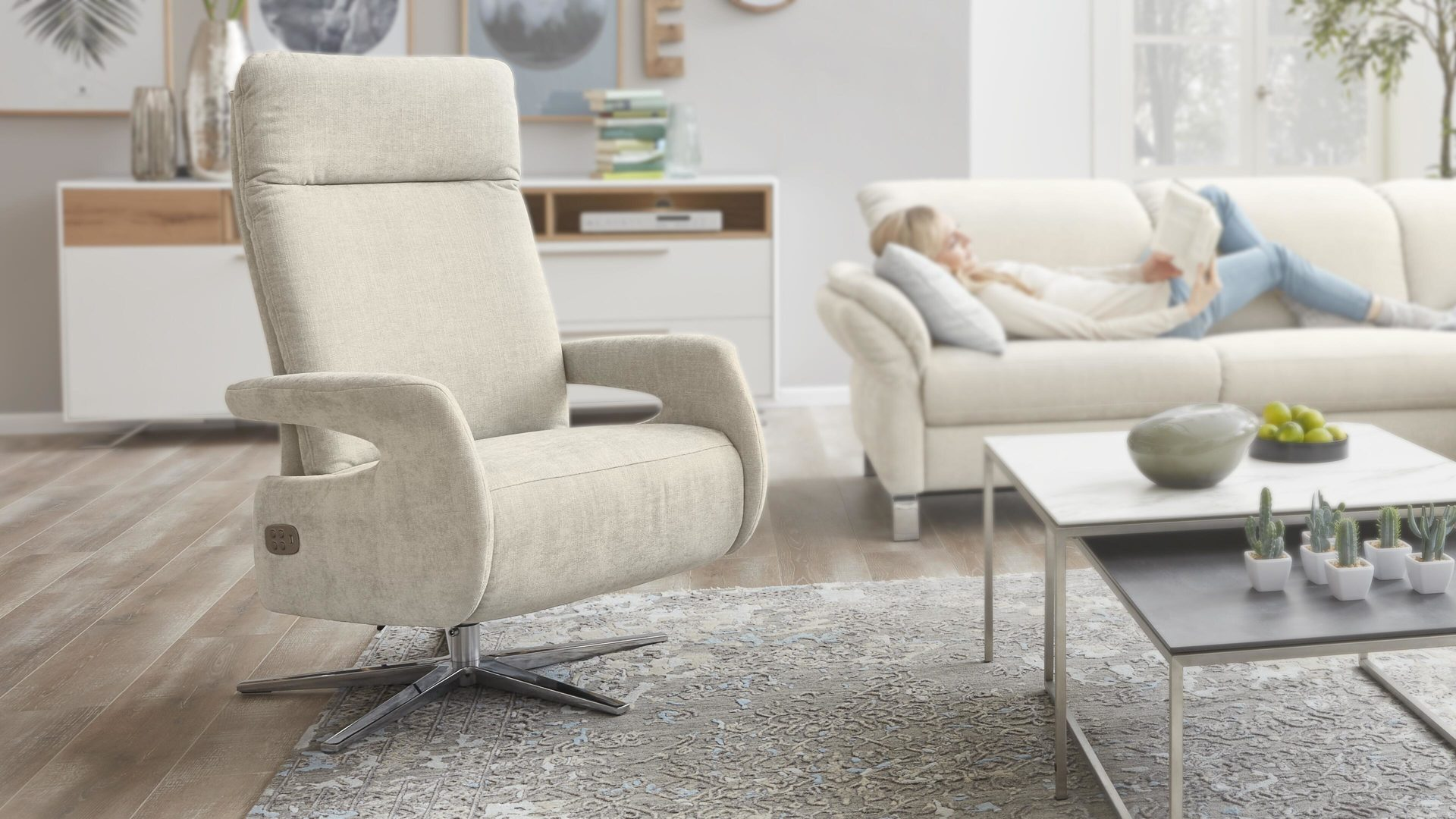 Relaxsessel 3c candy | il aus Stoff in Beige Interliving Sessel Serie 4510 – Relaxsessel cremefarbener Bezug Yelda & Sternfuß