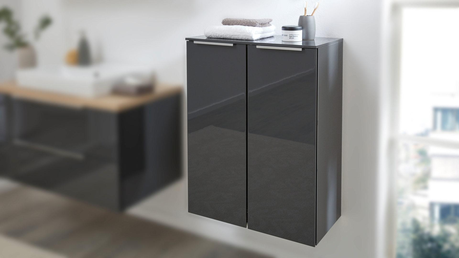 Interliving Bad Serie 19 – Highboard, karbonfarbene  Hochglanz-Lackoberflächen – zwei Türen