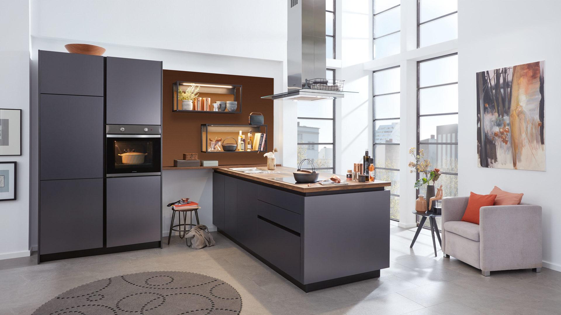 WERT-KÜCHE Corali Einbauküche mit privileg Einbaugeräten, Titan metallic &  Chaleteiche – zweizeilig