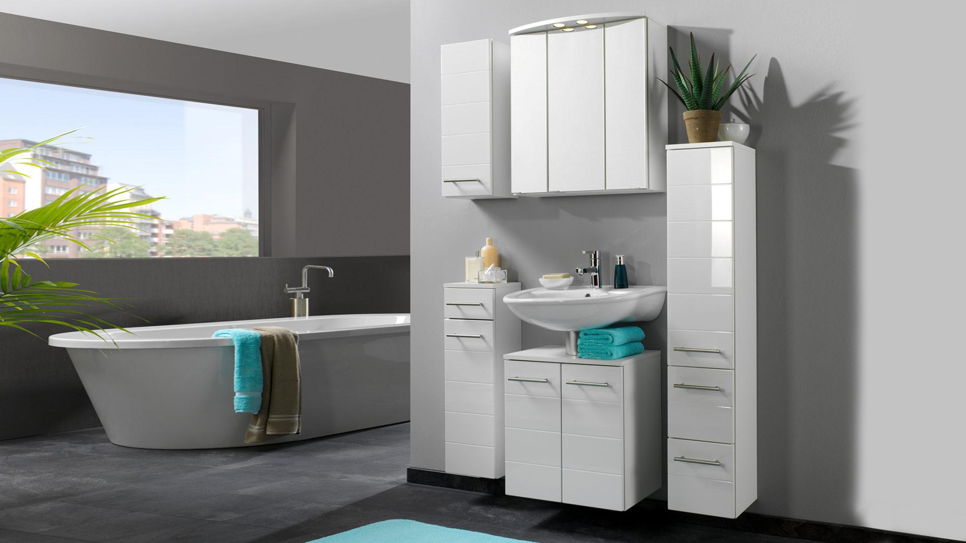 Badschrank bzw. Hängeschrank Rimini fürs Badezimmer, weiße Hochglanz ...