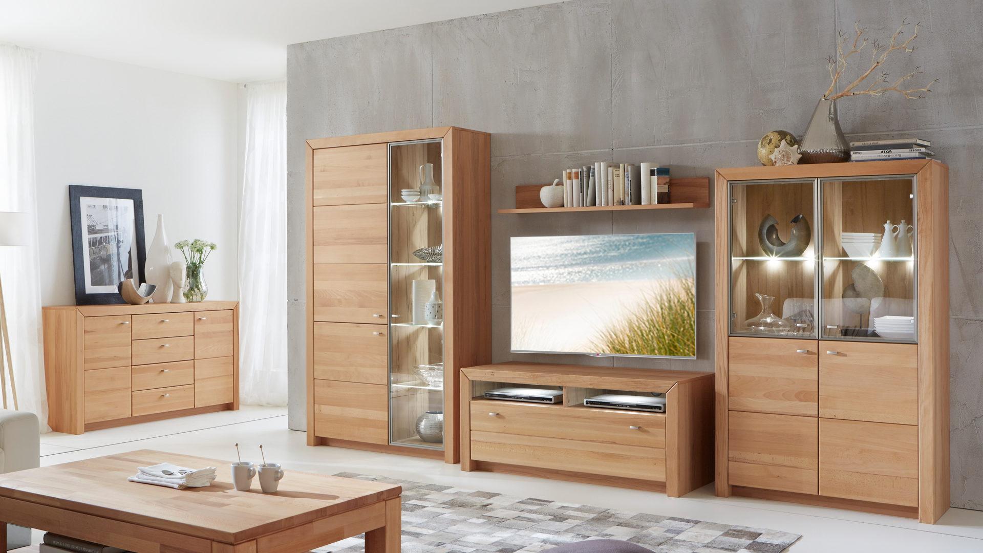 Wohnwandkombination Mit Vitrine Und Tv Möbel Kernbuche Geölte